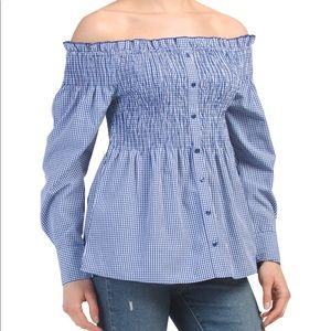 Smocked button down off the shoulder top